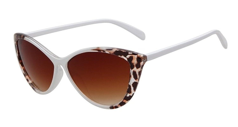 Oath_song K211 Occhiali da Sole Cornice in Plastica Occhi di Gatto Modello Leopardo Lenti a Gradiente per Donna, marrone