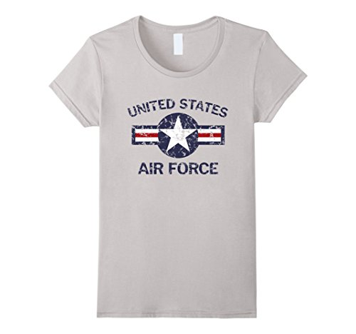 064abe44 Galleon - Womens United States Air Force Vintage Roundel Faded Grunge T- Shirt Small Silver