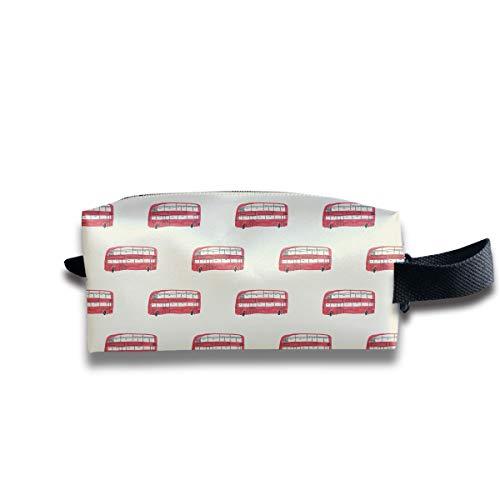 Makeup Cosmetic Bag London Bus Vintage Elements Medicine Bag Zip Travel Portable Storage Pouch for Mens Womens -