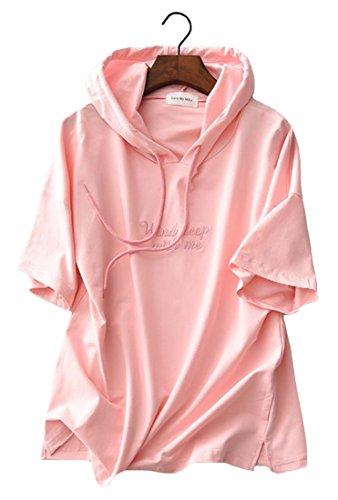 巻き取り巧みな慰めFoncaz パーカー レディース トレーナー 半袖 Tシャツ プルオーバー スウェット 夏 無地 フード付き 通勤 通学 スポーツ 可愛い ゆったり ファッション