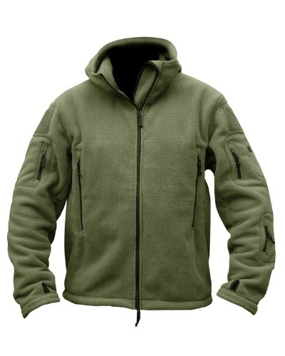 Mens Military Army Combat Re-con Hooded US British Fleece Sweat Shirt Zip Jacket Smock New (Large = Chest 42 - 44 inch) Olive