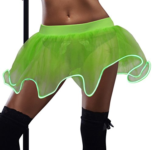 [JenniWears Adult LED Tulle Tutu Light Up Skirt for Party Stage Costume Show Nightclub Green] (Led Light Dance Costumes)
