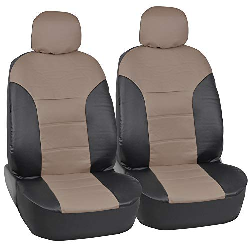 Motor Trend Black/Beige Two Tone PU Leather Car Seat Covers - Classic Accent - Premium Leatherette - Front Pair