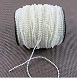 Krismile Ivory 3mm round beads garland spool faux pearl beads string on a roll 110M/roll