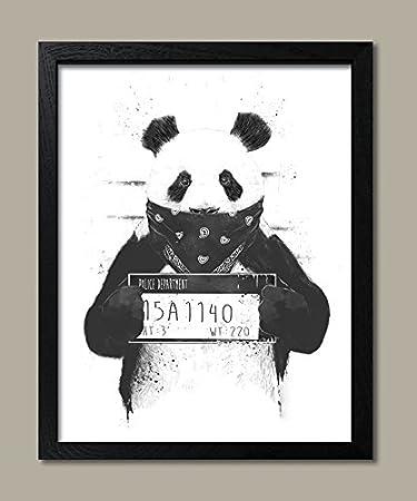 Bad panda black and white panda bear mugshot one 11x14 black framed print