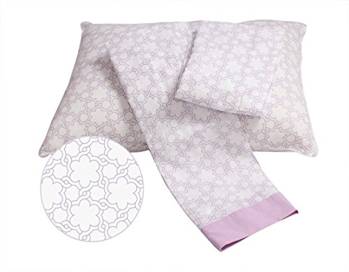 Bacati Floral Muslin 3 Piece Toddler Bedding Sheet Set, Lilac by Bacati