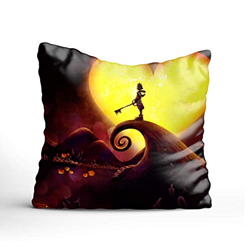 Fornate Kingdom Hearts Square Throw Pillow Case Decorative Cushion Cover Pillowcase for Sofa,Bed,Chair,Bedding ()
