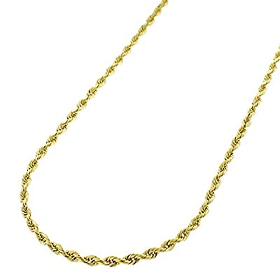 """14k Yellow Gold 1.5mm Solid Rope Diamond Cut Chain Necklace 16"""" - 24"""" from ISD"""