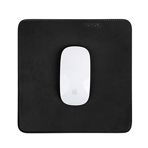 (TOPHOME Gaming Mouse Pad 1pc/package Black Genuine Leather Special Office with Non-slip Smooth Movement (M,)