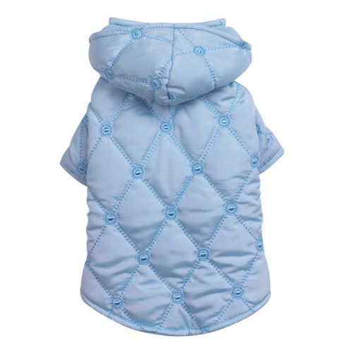 East Side Collection Polyester Quilted Pastel Dog Jacket, Small/Medium, 14-Inch, Blue