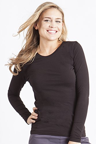 Healing Hands Scrubs Melissa 5047 Knit Long Sleeve Underscrub Tee Shirt- Black-...