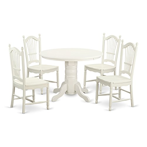 East West Furniture SHDO5-WHI-W 5 Piece Table and 4 Chairs Dinette
