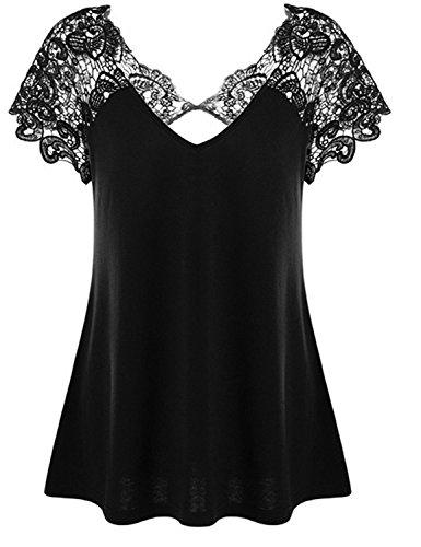 YOGLY Camisetas Mujer Verano Cuello V Blusas T Shirt Cmisetas con Mangas Cortas de Color Sólido Ocasional Costura de Encaje Suelta Camiseta Negro