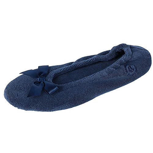 Isotoner Women's Terry Ballerina,Navy,Large-8/9
