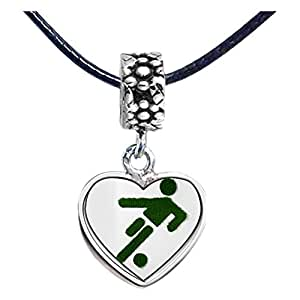 Chicforest Silver Plated Olympics athlete kicking soccer ball cartoon Photo Flower Head Dangle Heart Charm Beads Fits Pandora Bracelet