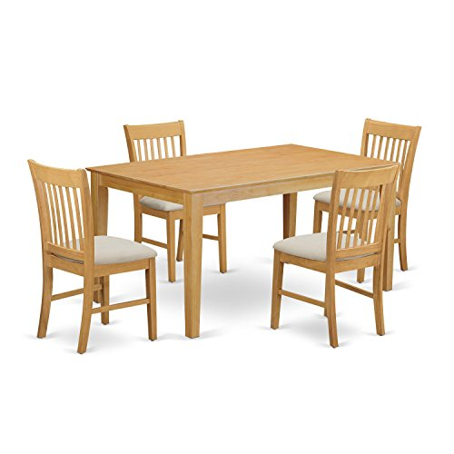 East west furniture cano5 oak c 5 piece dining table and 4 for 5 piece dining room sets cheap