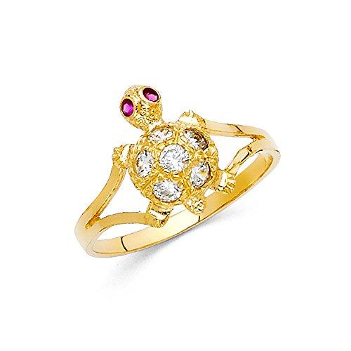 Solid 14k Yellow Gold Turtle Ring CZ Tortoise Band Diamond Cut Fashion Polished Stylish Fancy, Size 8 14k Yellow Gold Turtle