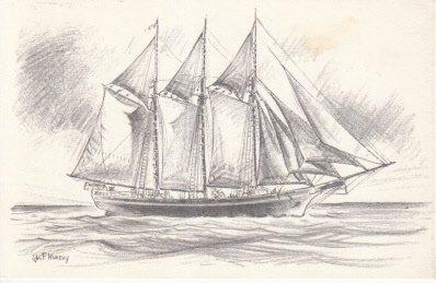 (Unused Postcard Litho of Ship by Artist Vas F.)