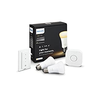 Philips Hue White Ambiance Smart Bulb Starter Kit (2 A19 Bulbs  1 Hub and 1 Dimmer Switch  Works with Alexa  Apple HomeKit  and Google Assistant)