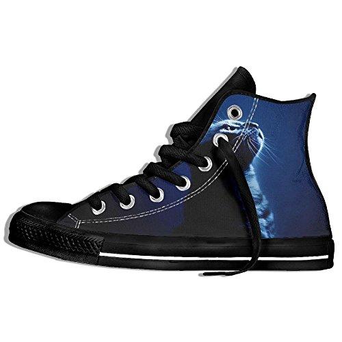 Classiche Sneakers Alte Scarpe Di Tela Anti-skid Cool Cats Casual Da Passeggio Per Uomo Donna Nero