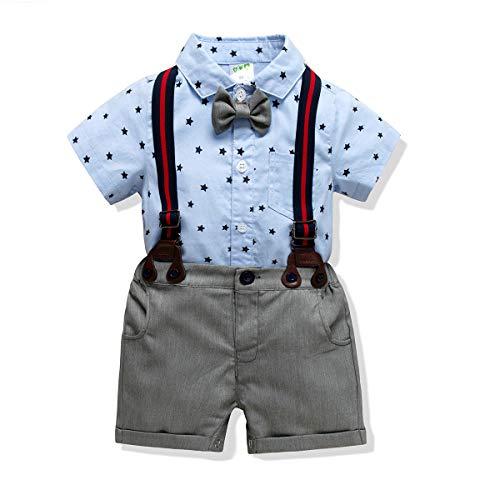 (Baby Boys Gentleman Romper Jumpsuit Overalls Rompers Set,Infant Short Sleeve Shirt+Bib Pants+Bow Tie Overalls Clothes Set (Star, 12-18M/90))