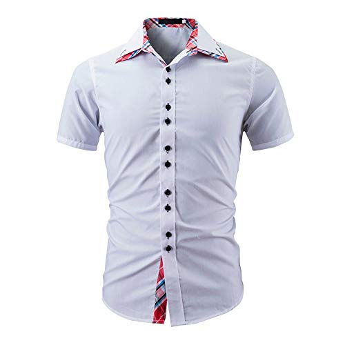 Stoota Fashion Men's Summer Solid Color Button-Down Business Casual Short Sleeve Slim Fit Shirt Top Blouse White ()