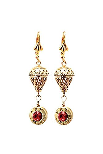 Elegant Gold tone Teardrop Pierced Dangle Leverback Earrings with Recycled Bullet Gun Ammo and Crystal