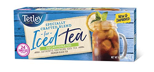 Tetley Black Tea, Decaffeinated Iced Tea Blend, Family Size, 24 Round Tea Bags (Pack of 6)
