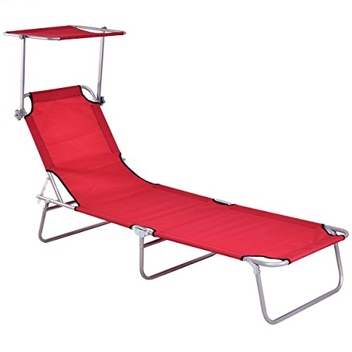 Chaise Lounge Canopy (Giantex Folding Lounge Chair Relaxer Bed with Sun Shade Outdoor Portable Recliner w/Adjustable Reclining Positions Garden Beach Patio Pool Seat (Red))