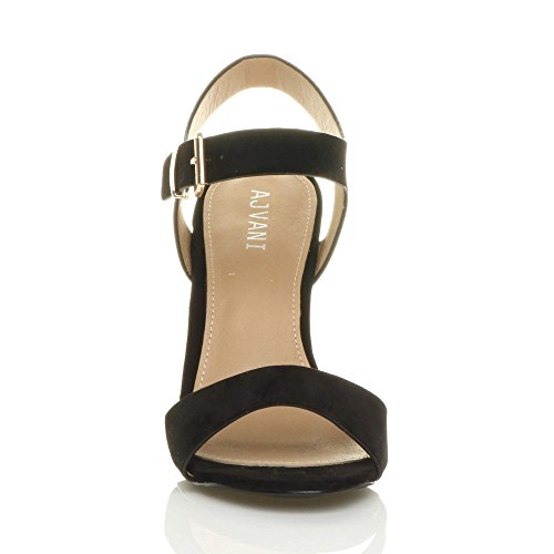 Scamosciata Alto con Numero Fibbia Donna Casual Sandali Tacco Cinturino Ajvani Caviglia alla Scarpe Nero nfwHgx