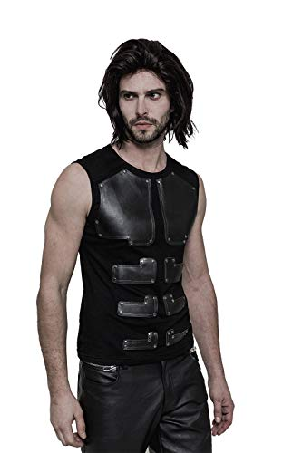 Punk Mens Sleeveless T Shirts Black Slim Vest with Faux Leather Decoration Casual Rock Top Tees ()