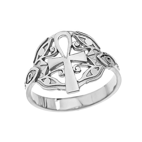 Sterling Silver Egyptian Ankh Cross and Eye of Horus Elegant Ring (Size 6) (Egyptian Ankh Cross Ring)