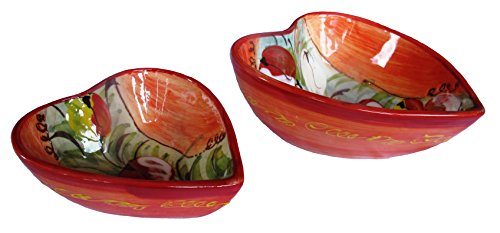 Cactus Canyon Ceramics Decorative Heart Shaped Bowl Set of 2 (Tulips Design) - Hand Painted in Spain