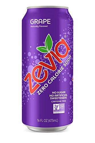 (Zevia Grape, 16 Ounce Can (12 Count) Zero Calories, Zero Sugar, Naturally Sweetened, Carbonated Soda, Refreshing, Flavorful, and Tasty)
