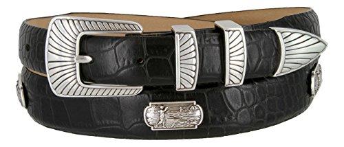 Golf Swinger Italian Leather Belt with Golf Swing Medallions 1-1/8