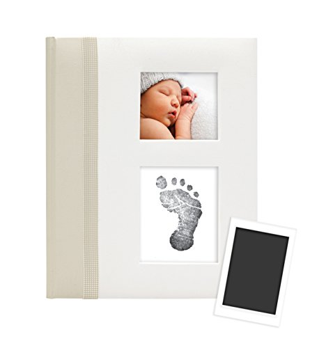 Pearhead Classic Baby Memory Book with an Included Clean-Touch Ink Pad to Create Baby's Handprint or Footprint, Ivory
