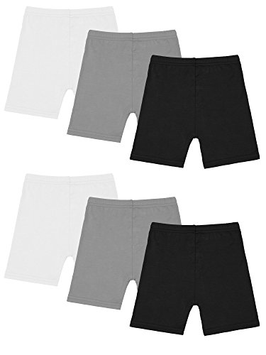 Resinta 6 Pack Black Dance Shorts Girls Bike Short Breathable and Safety 6 Color (4T/5T, Black, Grey, White) -