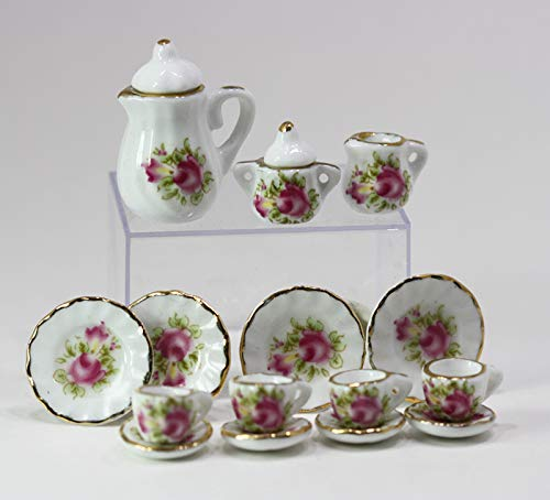 Dollhouse Miniature Old Fashioned Pink Rose Fluted Tea Set for Four