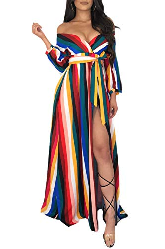Lucklovell Women Sexy Rainbow Striped Off Shoulder Belted Maxi Jumpsuit ((US 4-6) S, (Rainbow Belted Belt)