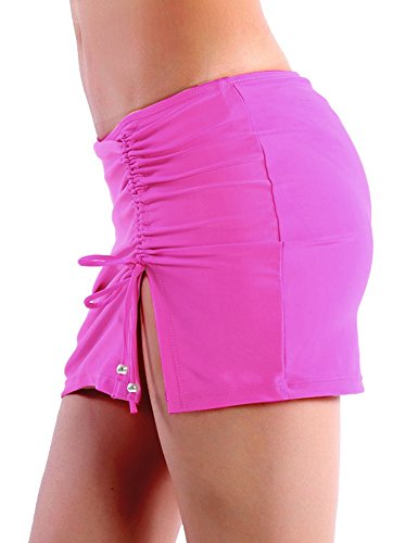 Spadehill Women High Waist Side Tie Solid Color Swim Skirted Bikini Bottom Pink (Solid Tie Side Bottom)