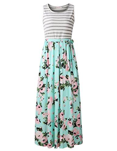 FANVOOK Sleeveless Dresses with Pockets, Women Striped Chevron Print Daily Long Tank Dress GP ()