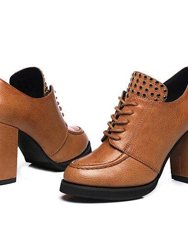 NJX/ Damenschuhe - High Heels - Outddor / Lässig - Kunststoff - Blockabsatz - Absätze / Komfort - Schwarz / Braun brown-us5.5 / eu36 / uk3.5 / cn35