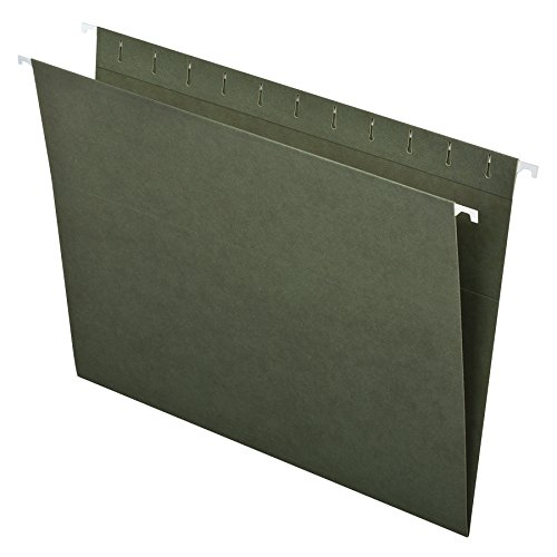 Pendaflex Essentials Hanging Folders, Letter Size, No Tabs, Standard Green, 25 per Box (81600)