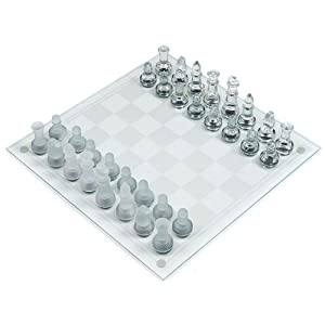 Deluxe Solid Glass Chess Set - Inlcudes Bonus Deck of Cards!