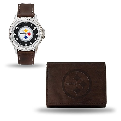 Roy Rose Gifts NFL Pittsburgh Steelers Brown Leather Watch & Wallet -