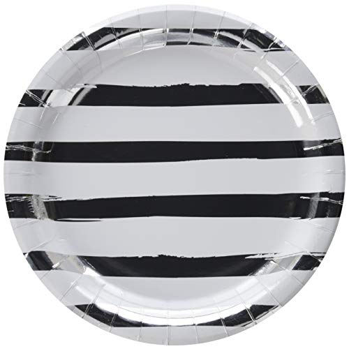 (Creative Converting White & Silver Foil Stamp Paper Dinner Plates, Multicolor)
