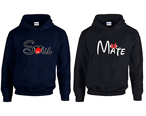 Valentine's Day Special Soul Mate Couple Goal Shirts Hoodie Hooded Sweatshirt 2(Navy-Black,Men-L/Women-S)