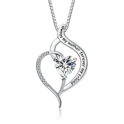 """FANCYCD """"Always My Mother Forever My Friend"""" Love Heart Necklace, 18"""