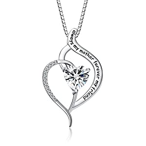 "FANCYCD ""Always My Mother Forever My Friend Love Heart Necklace, 18"", Special Jewelry for Women, for Mom, Wife, Aunt, Grandma."