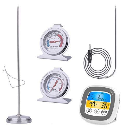 Kitchen Thermometer Set (Touchscreen Digital Meat Thermometer with Stainless Probe and Timer, Deep Fry Thermometer with 9